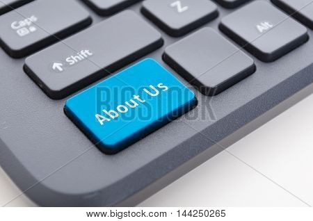 Blue About Us Button On Keyboard Concept