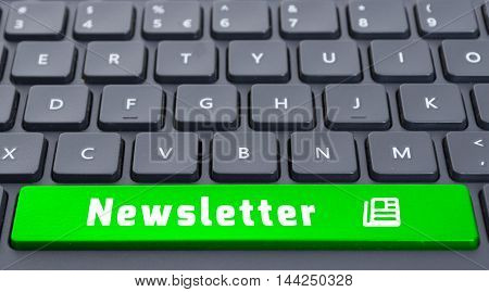 Green Space Newsletter Button On Keyboard Concept