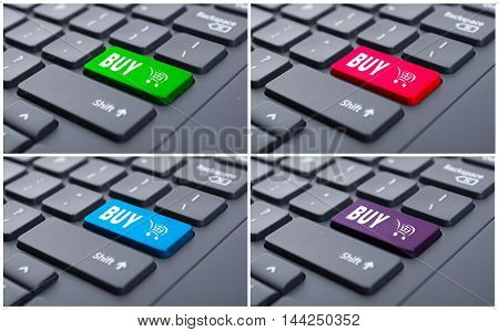 Conceptual Collage Of Buy Button On Keyboard
