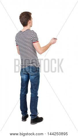 back view of writing business man. Rear view people collection.  backside view of person. Isolated over white background. Curly boy in a striped vest writes marker.
