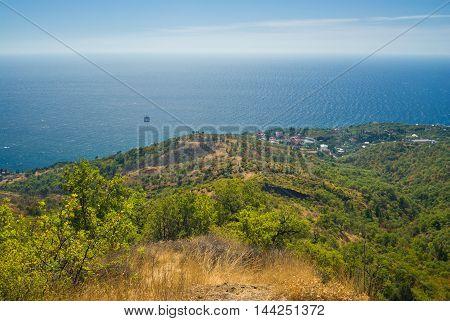 Autumnal landscape near Katsiveli resort in Blue Bay area Black Sea coast Crimea Ukraine.