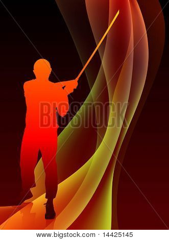 Karate Sensei with Sword on Abstract Blaze Wave Background Original Illustration