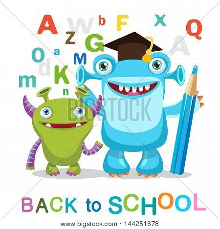 Two Funny Monsters And Text Back To School On A White Background Vector Illustrations. Education Theme. Colored Letters Vector. Cartoon Monsters Mascot.