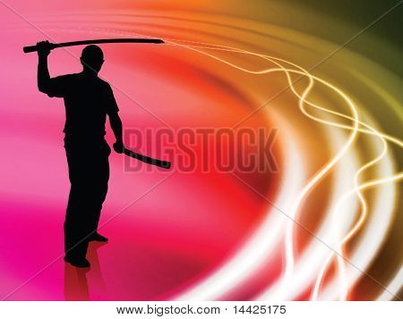 Karate Sensei with Sword on Liquid Wave Background Original Illustration