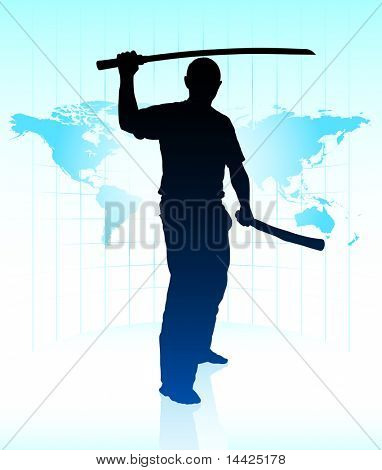 Karate Sensei with Sword on World Map Background Original Illustration
