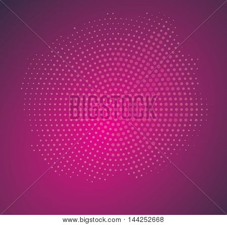 Vintage Abstract Radial Halftone on Purple Background. Vector Illustration.