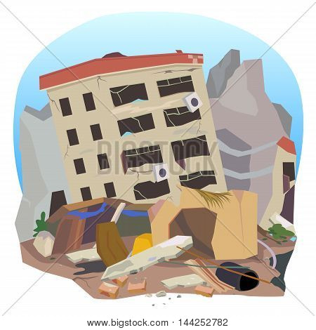 Vector of earthquake destroyed the city and houses.