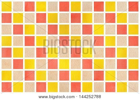 Watercolor Yellow, Beige And Salmon Squares