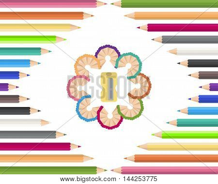 Colored pencils with  yellow sharpener. Vector illustration.