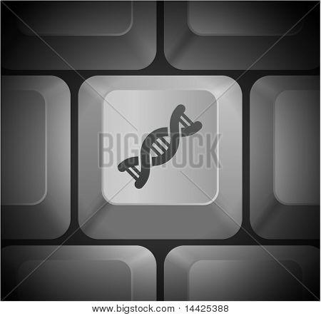 DNA Icon on Computer Keyboard Original Illustration