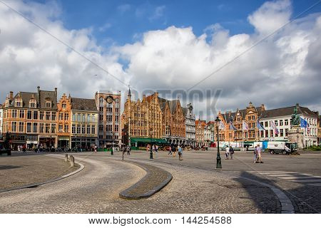 BRUGES, BELGIUM - CIRCA JUNE 2014: Marketplace in Bruges in June 2014. This is famous marketplace of one of the most popular touristic destination in Belgium
