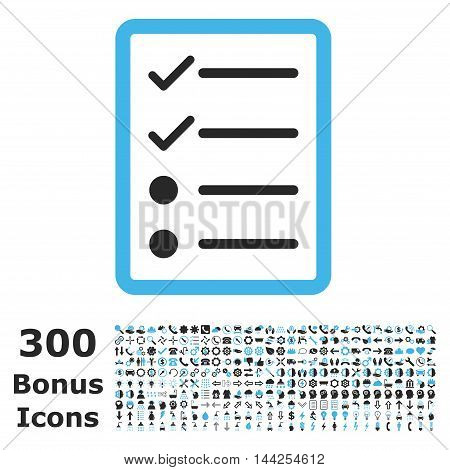 Checklist Page icon with 300 bonus icons. Vector illustration style is flat iconic bicolor symbols, blue and gray colors, white background.