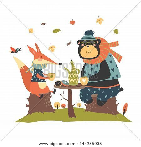 Cute fox with bear drinking tea in the autumn forest. Vector illustration