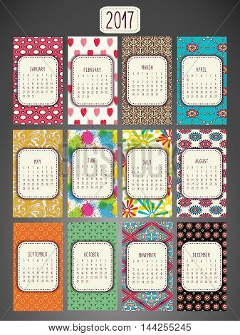 2017 calendar in us style start on sunday each month with individual table. Colorful Patterned background.