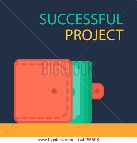 Successful investing concept. Bank holding. Financial budget banner. Money in purse. Earnings and payments symbol. Vector