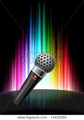 Microphone on Abstract Spectrum Background  Original Illustration