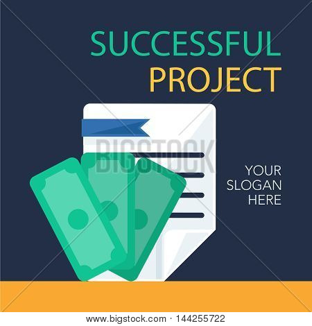 Successful investing concept. Bank holding. Financial budget banner. Money and document. Earnings and payments symbol. Vector