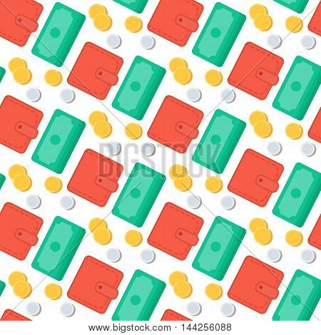 Successful investing Seamless Pattern. Bank holding. Financial budget banner. Money coins purse. Earnings and payments symbol. Vector
