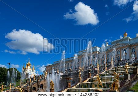 PETERHOF, SAINT PETERSBURG, RUSSIA - JUNE 10 2015: Peterhof Palace is known as Russian Versailles on June 10, 2015 in Saint Petersburg, Russia. Ensemble is recognized as a UNESCO World Heritage Site.
