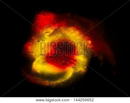 The fiery glow on a black background. Concept global disaster eruption fire