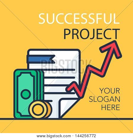 Successful investing concept. Bank holding. Financial budget banner. Money coins document and graph. Earnings and payments symbol. Patent illustration. Vector