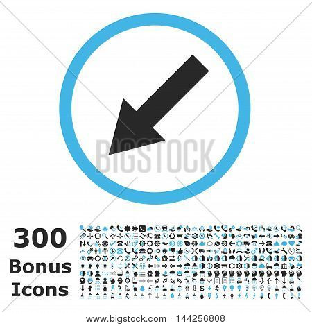 Down-Left Rounded Arrow icon with 300 bonus icons. Vector illustration style is flat iconic bicolor symbols, blue and gray colors, white background.