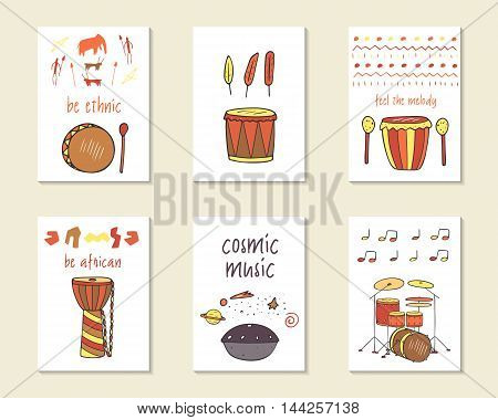 Cute doodle ethnic musical cards brochures invitations with drums including hang djembe indian drum shaman drum modern drums. Cartoon characters objects background. Printable templates set