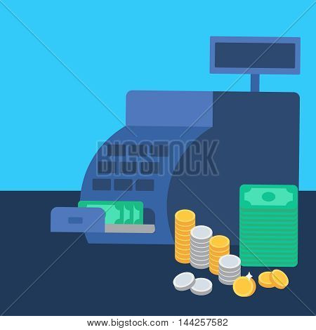 Cash register with money and coins. Commerce concept. Store symbol. Vector