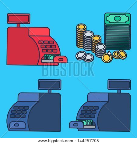 Cash register witn money and coins. Commerce concept. Store symbol. Vector