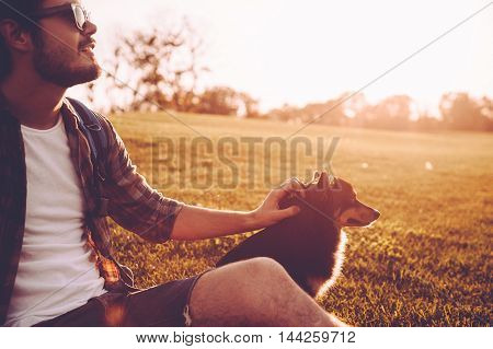 His best friend and companion. Cheerful young man petting dog while sitting on green grass outdoors