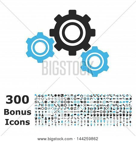 Gears icon with 300 bonus icons. Vector illustration style is flat iconic bicolor symbols, blue and gray colors, white background.