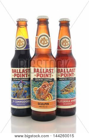 IRVINE CALIFORNIA - AUGUST 25 2016: Ballast Point Beers. Ballast Point founded in 1996 was the first microdistillery in San Diego since Prohibition.