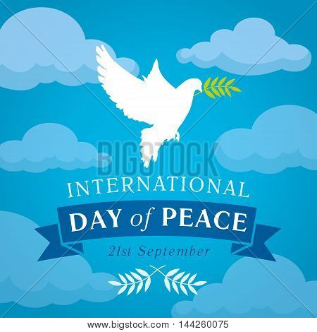 Internationai Day of Peace vector illustration. Peace dove with olive branch for International Peace Day banner