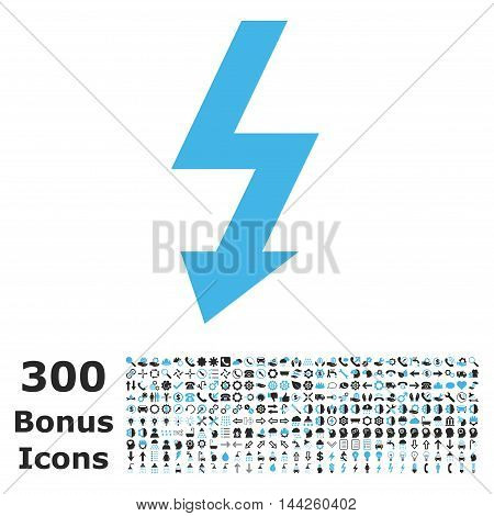 High Voltage icon with 300 bonus icons. Vector illustration style is flat iconic bicolor symbols, blue and gray colors, white background.