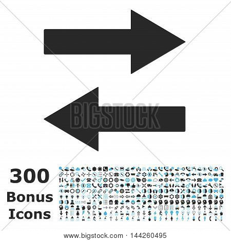 Horizontal Flip Arrows icon with 300 bonus icons. Vector illustration style is flat iconic bicolor symbols, blue and gray colors, white background.