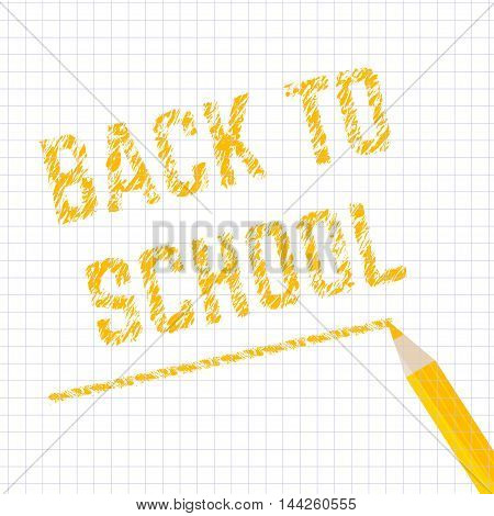 Poster school Educational back to school written on paper in a grid. Vector illustration