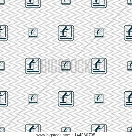 Fishing Sign. Seamless Pattern With Geometric Texture. Vector