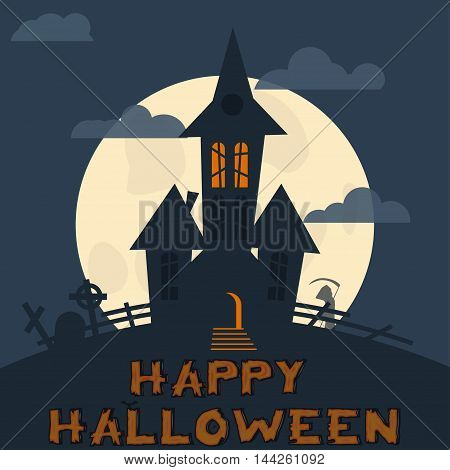 Halloween design vector template. Spooky landscape with castle, Grim reaper. Vector illustration