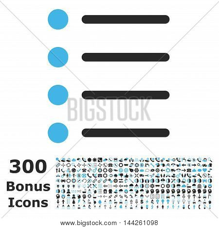 Items icon with 300 bonus icons. Vector illustration style is flat iconic bicolor symbols, blue and gray colors, white background.