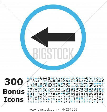 Left Rounded Arrow icon with 300 bonus icons. Vector illustration style is flat iconic bicolor symbols, blue and gray colors, white background.