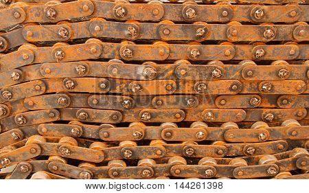 A very oxidized on chain surface. Equipment for industrial machinery.