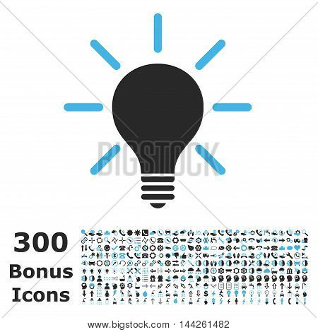Light Bulb icon with 300 bonus icons. Vector illustration style is flat iconic bicolor symbols, blue and gray colors, white background.