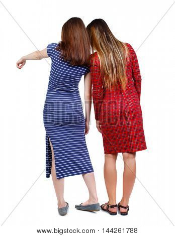 Back view of two pointing young girl. Two girls in dresses standing on hands and show something interesting.