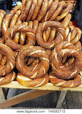 Traditional pretzel with sesame, Turkish street food