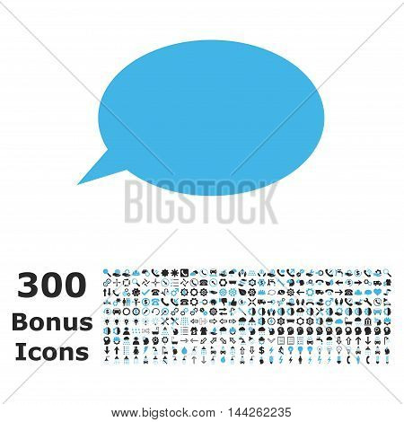 Message Cloud icon with 300 bonus icons. Vector illustration style is flat iconic bicolor symbols, blue and gray colors, white background.