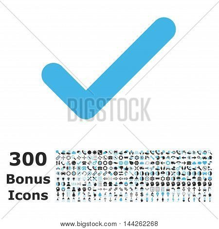 Ok icon with 300 bonus icons. Vector illustration style is flat iconic bicolor symbols, blue and gray colors, white background.