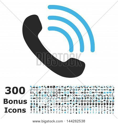 Phone Call icon with 300 bonus icons. Vector illustration style is flat iconic bicolor symbols, blue and gray colors, white background.