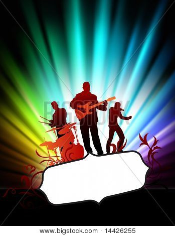 Live Music Band on Abstract Tropical Frame with Spectrum  Original Illustration