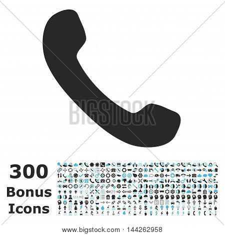 Phone Receiver icon with 300 bonus icons. Vector illustration style is flat iconic bicolor symbols, blue and gray colors, white background.