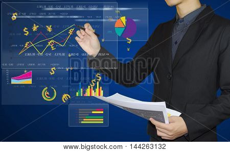 businessman hand holding pen write graph on board finance and banking concept.